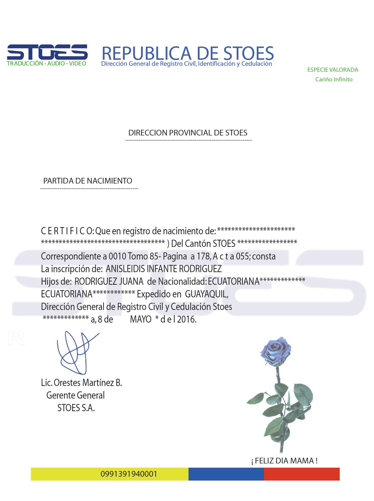 Certificado de nacimiento bilingüe - Traductores Intérpretes ...